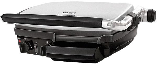 Sencor SBG 400  Ohrev: 2 000 W, regulácia, časovač Grilovacia plocha: 2 pevné platne 28 × 39 cm  Povrch: nepriľnavý polymér, hladký + vrúbkovaný