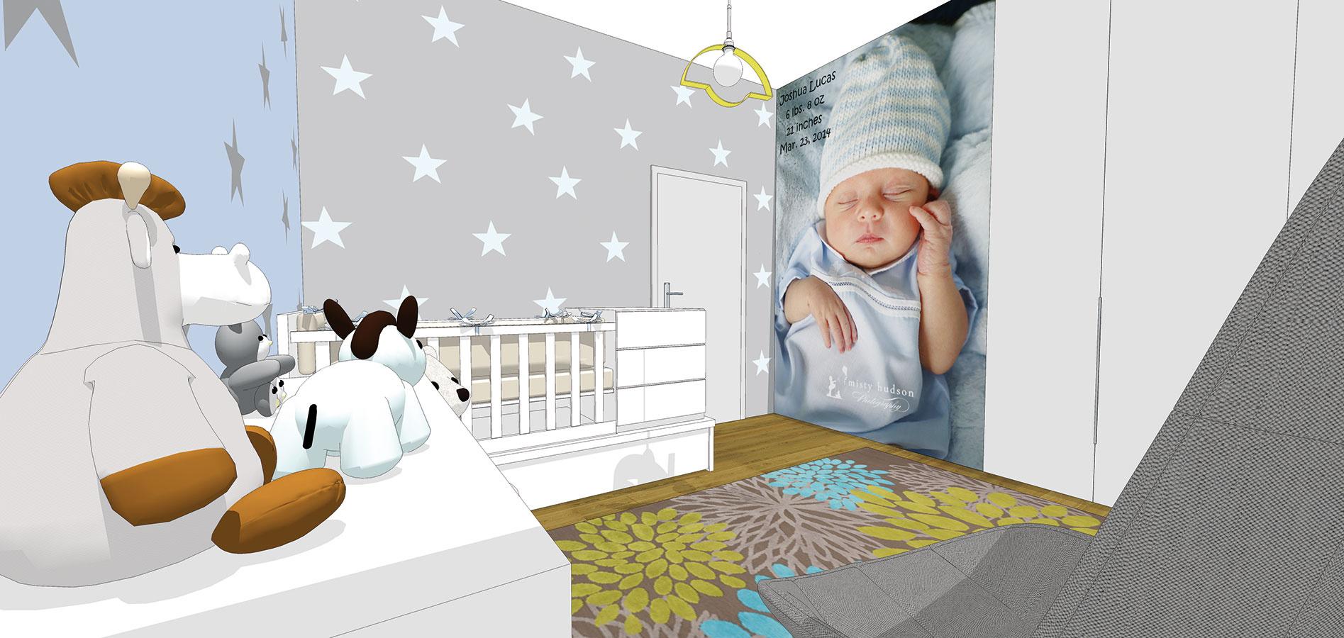 Aj izba ladená do tlmených tónov môže pôsobiť dynamicky anenudiť. Fotorealistická tapeta sobrázkom vášho dieťaťa bude milou spomienkou,jednoduchý hviezdičkový motív namaľujete na stenu bez problémov aj svojpomocne (študentská práca).