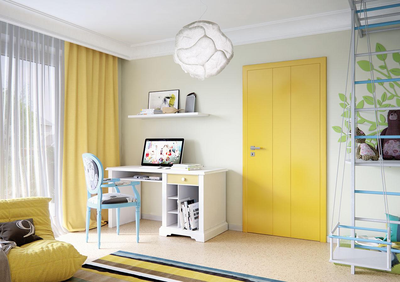 Netradičným spôsobom, ako vniesť do interiéru, resp. detskej izby farby, je použiť lakované dvere svýraznou farebnosťou. Súčasťou modelového radu Rainbow od spoločnosti Solodoor sú dvere azárube vpiatich trendových farbách, medzi ktorými nechýba piesková žltá. Tá zaručene rozžiari každú miestnosť.