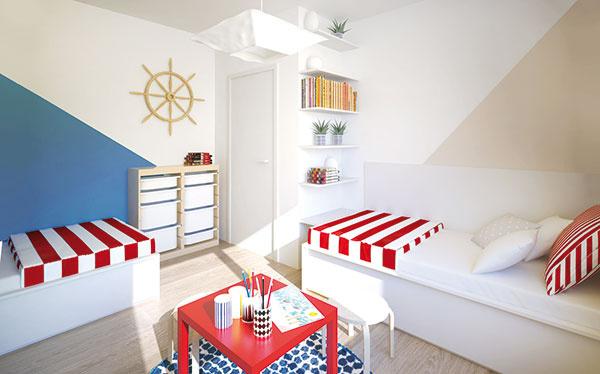 Zakomponovať do priestoru typový nábytok ušetrí pri realizácii starosti, čas avkonečnom dôsledku aj financie. Box na hračky zIKEA skvelo vyplnil priestor za dverami.