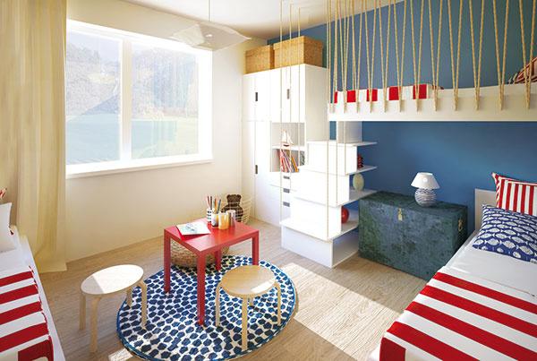 Majitelia počítajú s tým, že časom ostanú v izbe dvaja súrodenci. Jednoduchou výmenou dievčenskej postele za pracovný stôl môže izba slúžiť deťom aj počas školy.
