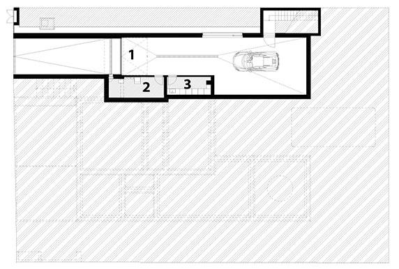 1 garáž 2 technická miestnosť 3 sklad