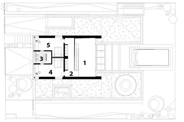 1 schodisko, galéria 2 chodba 3 kúpeľňa 4 hosťovská izba 5 hosťovská izba