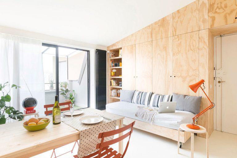 V čom spočíva efektivita riešenia priestoru v byte s rozlohou len 28 metrov štvorcových?