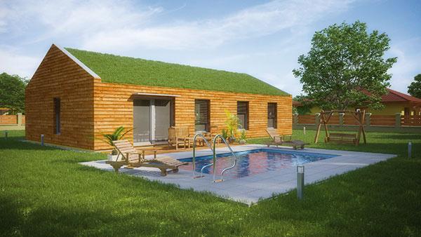 Neveľký prízemný dom s názvom ecobase je postavený z ekologických materiálov a určený pre 2- až 4-člennú rodinu. Keďže obsahuje prvky pasívneho štandardu, poskytuje vysoký komfort –  príjemné teplo v zime a chlad v lete so stále privádzaným čerstvým vzduchom – pri nízkych prevádzkových nákladoch. Typovú drevostavbu ponúka firma ForDom, autorom návrhu je architektonické štúdio Createrra, ktoré sa špecializuje na pasívne domy. Úžitková plocha 81,5 m2, cena od 117 500 € (bez DPH)
