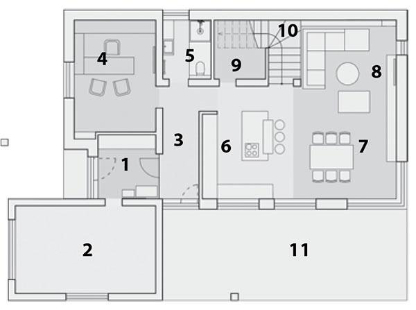 Pôdorys prízemia 1 vstup do domu/zádverie 2 garáž 3 chodba 4 pracovňa 5 kúpeľňa sWC 6 kuchyňa 7 jedáleň 8 obývacia izba 9 sklad 10 schodisko 11 terasa