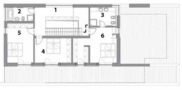Pôdorys poschodia 1 podesta, galéria 2 kúpeľňa 3 kúpeľňa 4 spálňa 5 spálňa 6 spálňa, šatník