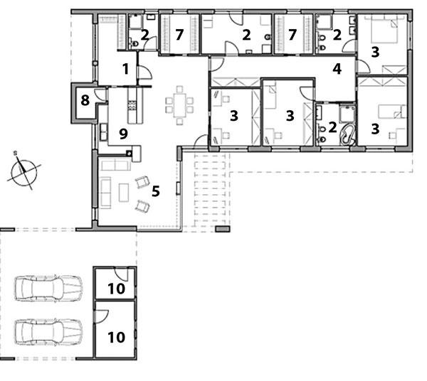 Pôdorys prízemia 1 zádverie, 2 kúpeľňa, 3 izba, 4 chodba, 5 obývacia izba, 6 technická miestnosť, 7 šatník, 8 komora, 9 kuchyňa, 10 sklad