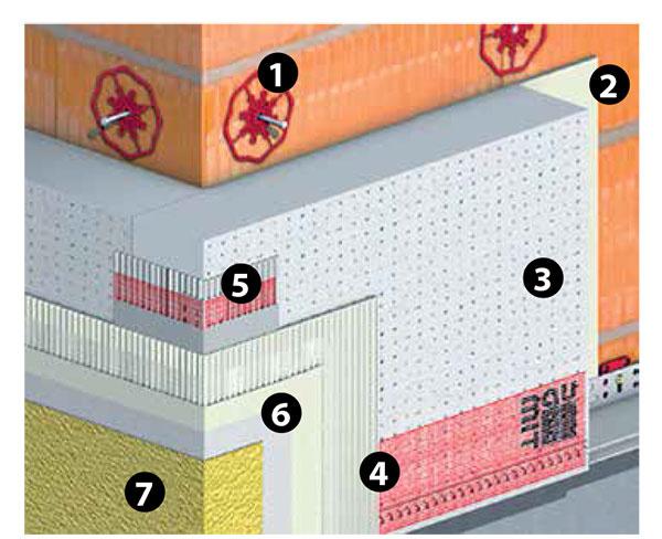 Odporúčaná skladba vrstiev 1 kotviace prvky Baumit StarTrack  2 lepiaca stierka Baumit openContact 3 izolačné dosky Baumit openTherm alebo Baumit open reflect 4 stierková vrstva Baumit openContact 5 výstuž Baumit openTex 6 základný náter Baumit PremiumPrimer 7 povrchová úprava Baumit NanoporTop