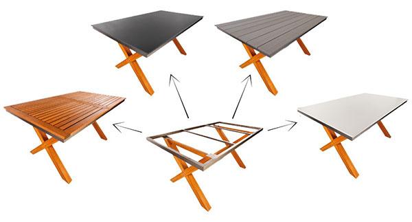 Podnožia a stolové dosky možno ľubovoľne kombinovať. Na snímke podnožie Lion v kombinácii so stolovými doskami Duranite biela, Durabord Sivý dub, Duranite antracit a Eukalyptus.