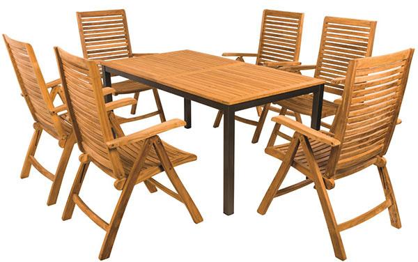 Chytrý stôl Variant (podnožie Lynx, doska Teak), polohovacie kreslá Gentle