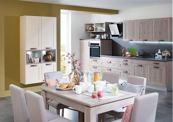 Kuchyňa Dona je štýlová aelegantná. Vďaka jemnejšiemu dizajnu rámových dverí pôsobí kuchyňa vzdušne asvetlo. Ide oklasický dizajn, ktorý však ukrýva všetky vymoženosti najnovších mechanizmov.