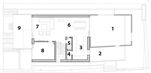 1 severná terasa – patio 2 strešná bylinková záhradka 3 kuchyňa 4 komora 5 WC 6 jedáleň 7 obývačka 8 pracovňa 9 južná terasa