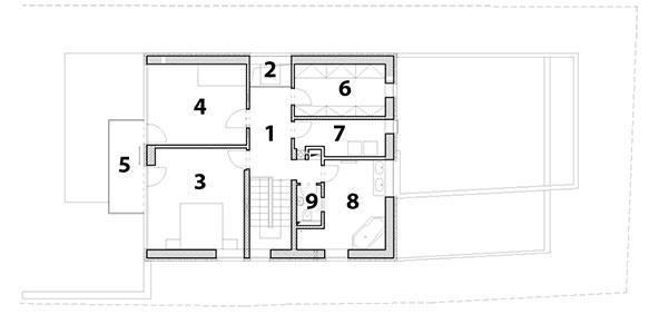 1 chodba 2 svetlík nad kozubom 3 spálňa 4 spálňa 5 balkón 6 šatník 7 práčovňa 8 kúpeľňa 9 WC