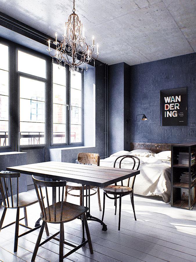 Krištáľový luster, ktorý dominuje priestoru nad jedálenským stolom, dodáva interiéru francúzsky šarm anádych romantiky.