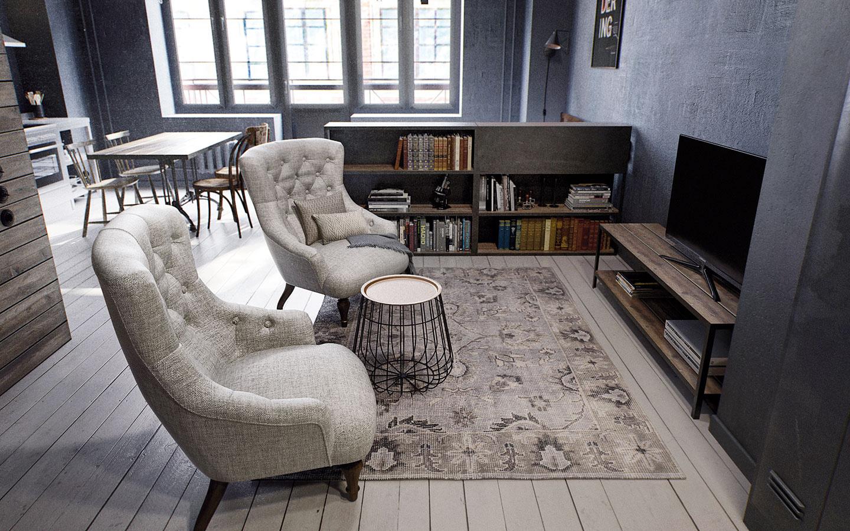 """Obývací kút je možno trochu netradične umiestený tesne za vstupným priestorom. Od """"spálne"""" ho oddeľuje nábytková polpriečka, ktorá vpriestore miniobývačky plní funkciu knižnice apri posteli slúži ako nočný stolík."""