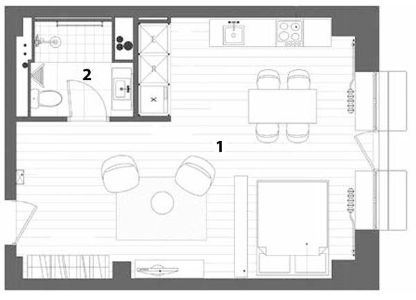 Pôdorys 1 obytná miestnosť 36,8 m2, 2 kúpeľňa 4,4 m2, spolu 41,2 m2