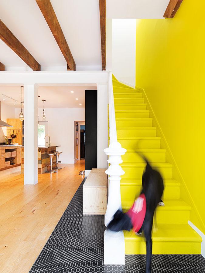 Žltá je obľúbenou farbou mladého páru – tu dodala šmrnc vstupnej časti prízemia aopticky odčlenila schody na poschodie od otvoreného denného priestoru. Dom okrem dvoch nadaných majiteľov obýva ešte ich štvornohý spoločník, huncútsky pes Gypsy.