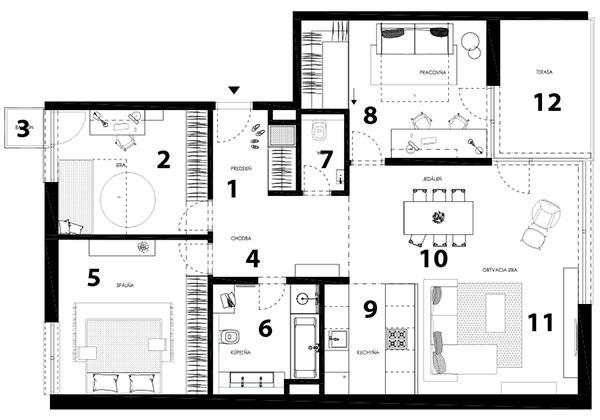 Pôdorys súčasného stavu 1 vstup do bytu/predsieň 2 detská izba 3 balkón 4 chodba 5 spálňa 6 kúpeľňa stoaletou 7 toaleta 8 pracovňa 9 kuchyňa 10 jedáleň 11 obývacia izba 12 terasa
