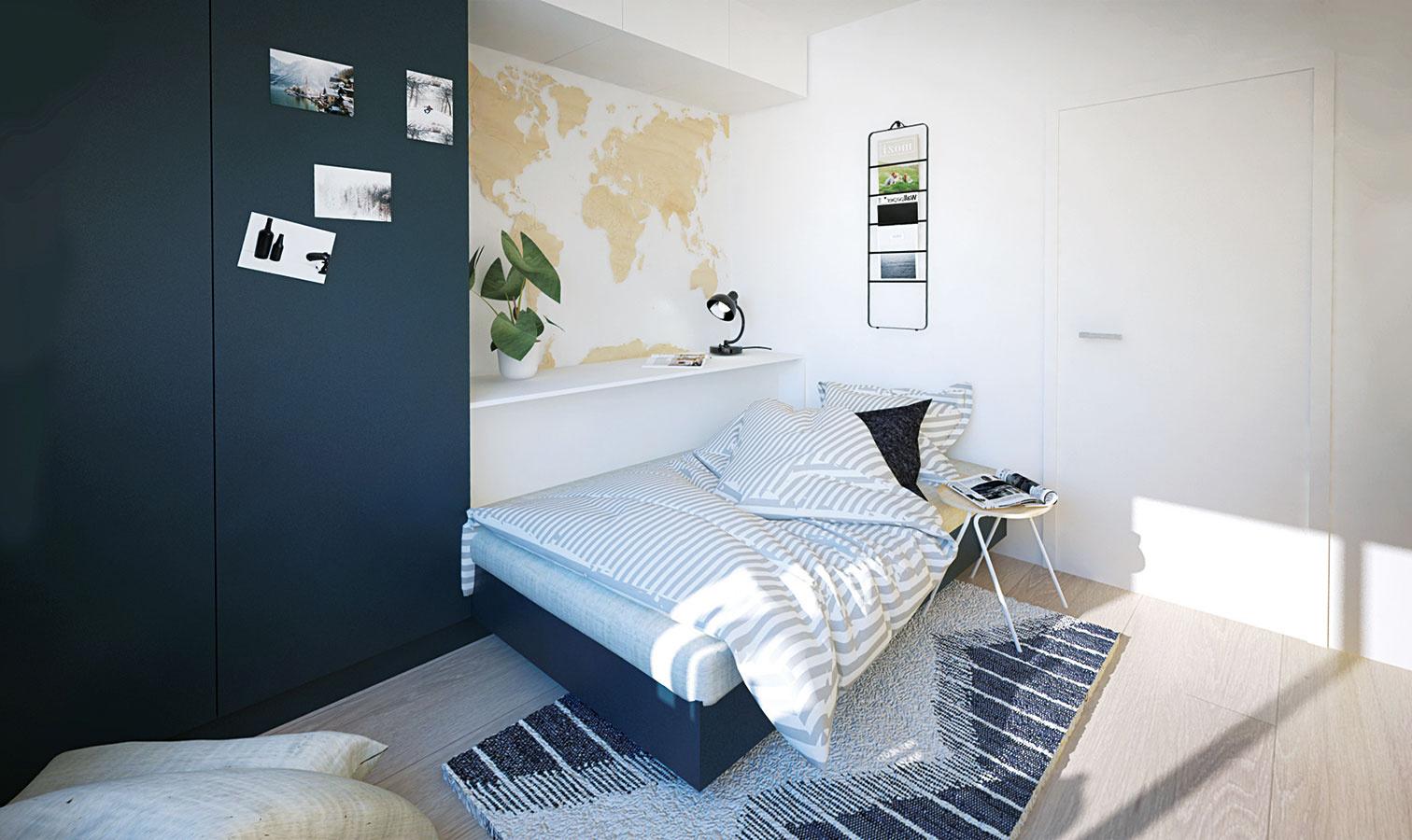 Výsuvná posteľ sa cez deň pomocou vankúšov zmení na sedačku. Takýmto spôsobom sa vpriestore spojili dva veľké kusy nábytku do jedného, ináč by sa tam nezmestili.