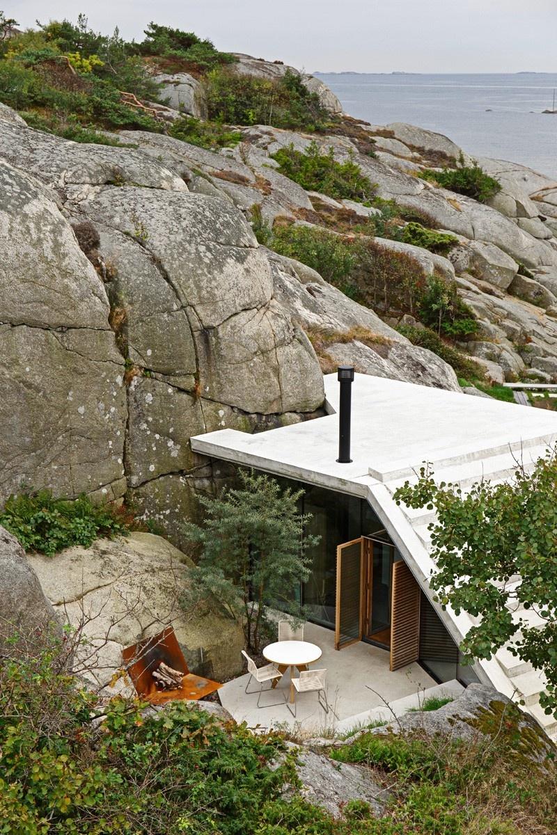 Chata so skalou v obývačke