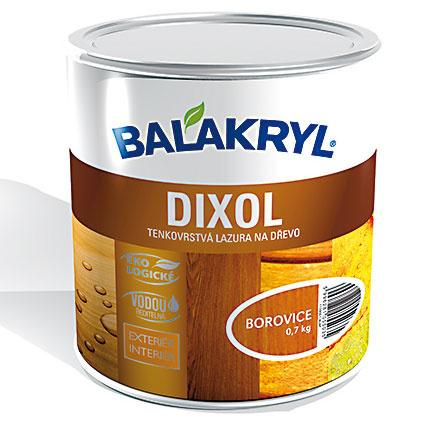 BALAKRYL DIXOL je vodou riediteľná rýchloschnúca tenkovrstvová lazúra, určená na nové aj renovačné nátery všetkých druhov dreva vinteriéri aexteriéri. Poskytuje hĺbkovú ochranu aj dekoratívny vzhľad – vponuke je 68 jemných prírodných aj extravagantných sýtych farebných odtieňov smatným vzhľadom. Predpokladaná životnosť náteru vnašich podmienkach je tri roky. www.balakryl.sk