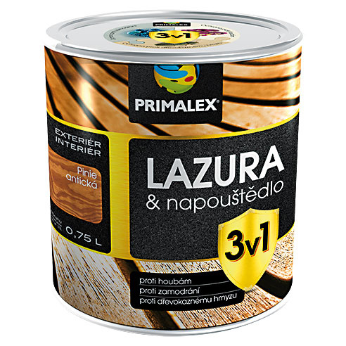 PRIMALEX LAZÚRA & NAPÚŠŤADLO 3 V1 je syntetický náter, ktorý vsebe spája dekoratívne aimpregnačné účinky – vďaka obsahu účinných aktívnych látok chráni drevo proti zmodraniu, drevokaznému hmyzu ahubám. Je vhodný na pergoly, ploty, drevené podhľady aďalšie drevené konštrukcie či stavebné prvky. www.primalex.sk