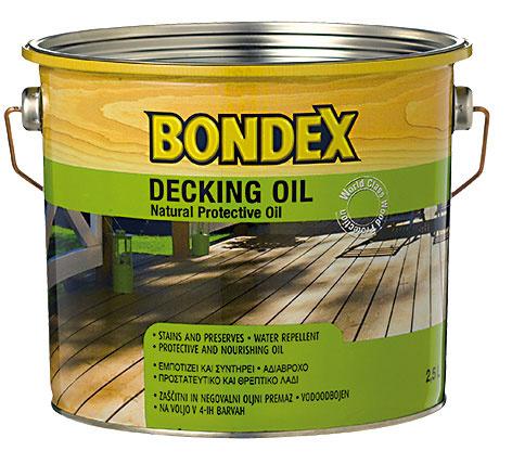 BONDEX DECKING OIL je ochranný syntetický napúšťací olej, určený na tvrdé aexotické dreviny, najmä na terasy adrevené pochôdzne plochy vexteriéri. Má vysokú penetračnú schopnosť, vytvára vodoodpudivý film na povrchu dreva azvýrazňuje kresbu aštruktúru dreva.  www.bondex.cz