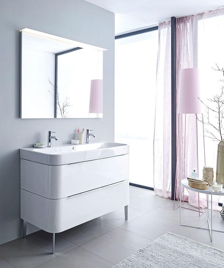 Jemné zaoblená. Happy D.2 od spoločnosti Duravit je kompletná kolekcia kúpeľňového zariadenia asanity charakteristická jemným zaoblením aženským pôvabom. Nástenným umývadlovým skrinkám sekundujú riešenia na nožičkách – vybrať si môžete zpiatich rôznych šírok sjednou alebo dvomi zásuvkami.