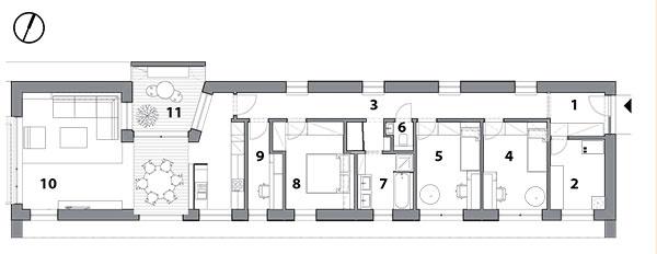 1 predsieň, 2 technická miestnosť, 3 chodba, 4 detská izba, 5 detská izba, 6 WC, 7 kúpeľňa, 8 spálňa, 9 pracovňa, 10 obytný priestor, 11 átrium