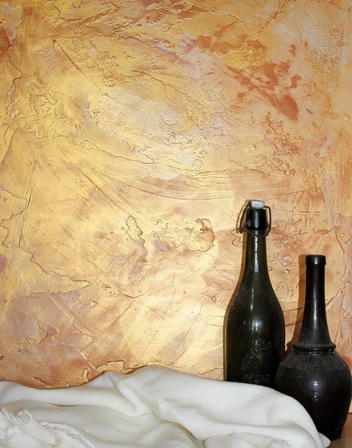 Kto obľubuje vinteriéri lesk, luxus aštýl glamour, určite nech zvolí steny sperleťou. Využitím rôznych maliarskych techník (valčekovanie, striekanie, náter štetcom) je možné vytvárať jemný, noblesný až umelecký vzhľad stien. Vhodnou voľbou na tento účel je dekoratívna farba REMAL EFEKT skovovým aperleťovým vzhľadom. Farba je vodou riediteľná aumývateľná, možno ju aplikovať na steny, drevený nábytok, rôzne doplnky avytvárať sňou rôzne štruktúry adekoratívne maľby. Pri citlivom ladení vynikne ako dominanta obývacích či spoločenských miestností. Je kdispozícii všiestich farbách – zlatej, striebornej, medenej, perleťovej, perleťovostriebornej aperleťovoružovej. (www.bal.sk)