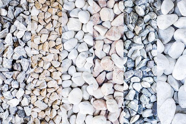Do štrkových záhonov môžete použiť štrk alebo drvený lomový kameň (experimentovať možno sveľkosťou frakcie aj farebnosťou). Výhodou riečneho štrku je, že pôsobí prirodzene adá sa po ňom prechádzať aj naboso. Drvený lomový kameň má väčšinou ostrejšie hrany, čo môže byť problematické pri ošetrovaní rastlín. Je vhodný najmä do moderných kompozícií – na väčšie plochy sminimom rastlín. Vmenších záhradách uprednostnite radšej štrk, ideálne sfrakciou 5 až 10 mm. Vo všeobecnosti platí, že svetlejšie druhy štrku akameňa je lepšie situovať do tieňa (presvetlia ho) ana slnečné miesta zase štrk alebo kameň vsivých odtieňoch. Použitie bieleho alebo farebne upravovaného štrku na slnečné miesta nie je vhodné, pôsobil by totiž príliš nápadne aneprirodzene.