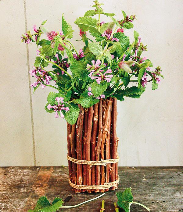 Vprípade vázy, ktorá pôsobí vyslovene prírodným dojmom atvorí ju napríklad sklenená  nádoba obalená viničovými konárikmi ajutovým špagátikom, sa oplatí stiahnuť po rastlinách, ktoré jej charakter ešte viac vyzdvihnú. Skúste použiť napríklad čistec (Stachys grandi) aďatelinu (Trifolium).