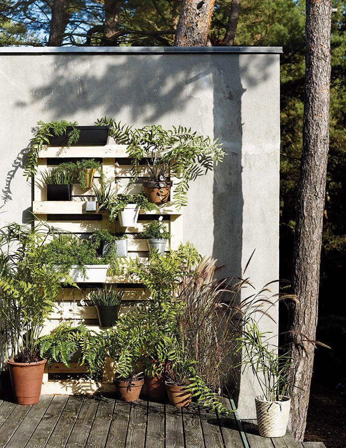 Jednoduchú vertikálnu výsadbu si môžete vytvoriť aj ukotvením väčšieho počtu vegetačných nádob nad seba. Zaujímavé možnosti ponúkajú palety, ktoré môžu za istých okolností nahradiť opornú konštrukciu.