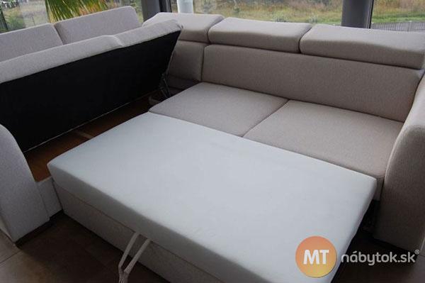 Rozkladacia rohová sedacia súprava Ruby na každodenný spánok