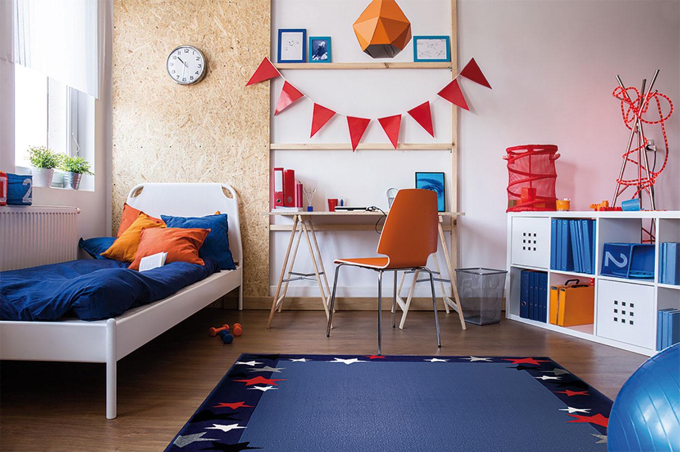 Textílie vo farbách, aké si dieťa samo zvolí, pomôžu hravo dotvoriť detskú izbu. Po čase ich možno vymeniť a dodať priestoru úplne novú náladu. Koberec Weconhome je možné objednať na www.therugseller.co.uk.
