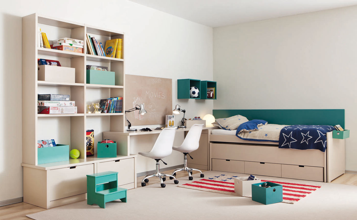 Nábytkové zostavy sa postarajú o plynulé zladenie postelí, úložných priestorov a pracoviska do jednotného dizajnu, čo mnohým imponuje. Pri vhodnom rozložení možno pomocou nich navyše ušetriť priestor. Zostava je dostupná na www.ksl-living.fr.