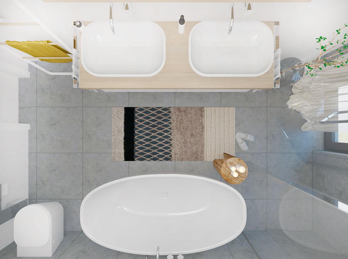 Sanita so zaoblenými hranami pôsobí mäkko a priestor kúpeľne zútulňuje.