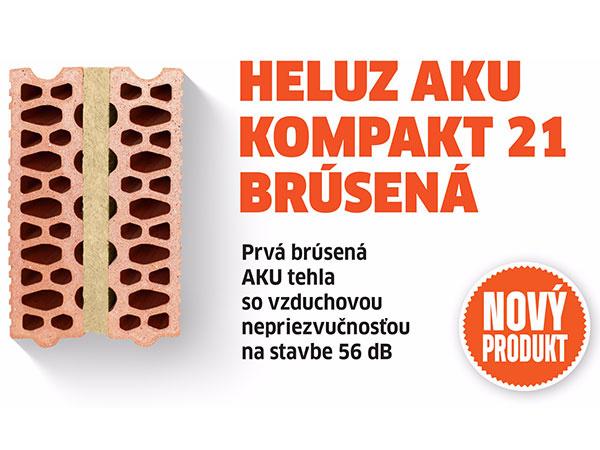 HELUZ AKU KOMPAKT 21 brúsená – Prvá brúsená AKU tehla so vzduchovou nepriezvučnosťou na stavbe 56 dB príde na trh už v roku 2017