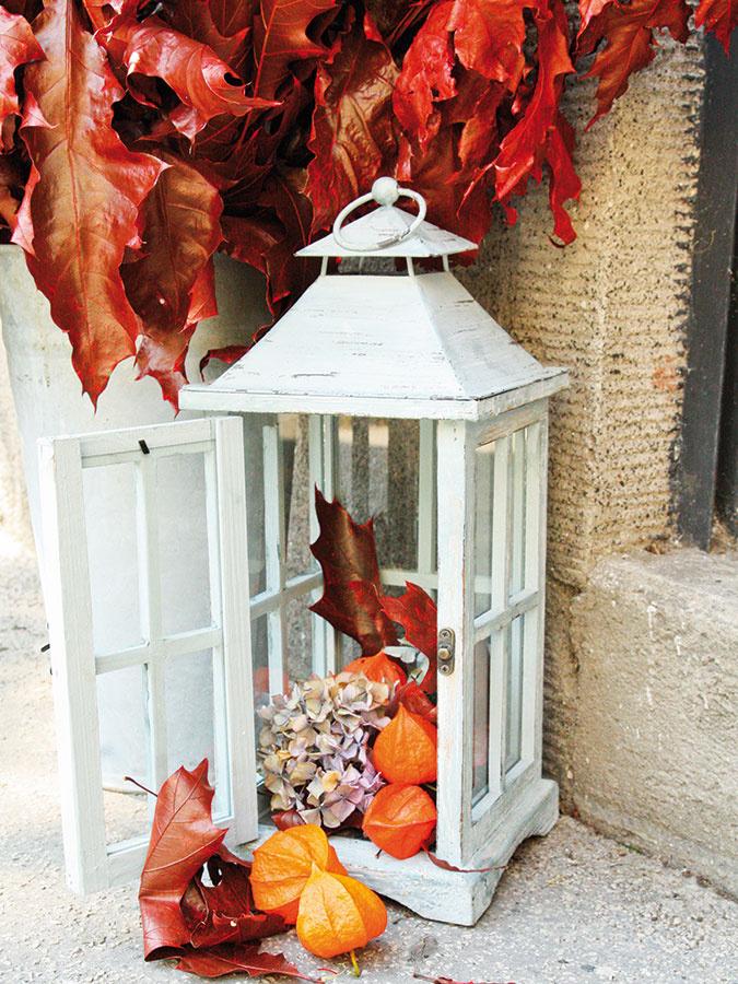 V lampáši pred vstupom do domu nemusí byť umiestnená len sviečka. Farbené listy duba (Quercus) a oranžové plody machovky (Physalis) zaraz navodia jesennú náladu.