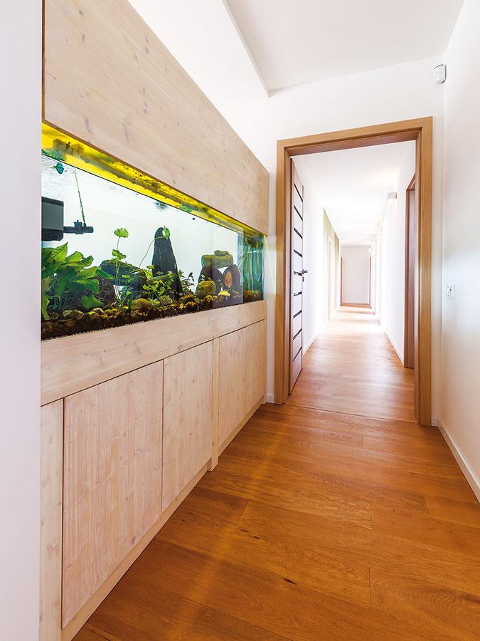 Zdlhej chodby sú prístupné izby, toaleta, miestnosti zázemia aj malé wellness so saunou na konci domu. Zo severnej strany do nej preniká svetlo cez francúzske okná.