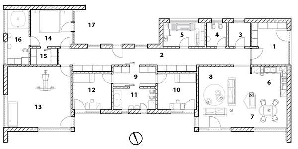 Pôdorys 1 predsieň 2 chodba 3 komora 4 WC 5 technická miestnosť, práčovňa 6 kuchyňa 7 jedáleň 8 obývačka 9 terasa 10 pracovňa 11 kúpeľňa 12 izba 13 sauna, wellness 14 spálňa 15 šatník 16 kúpeľňa 17 terasa