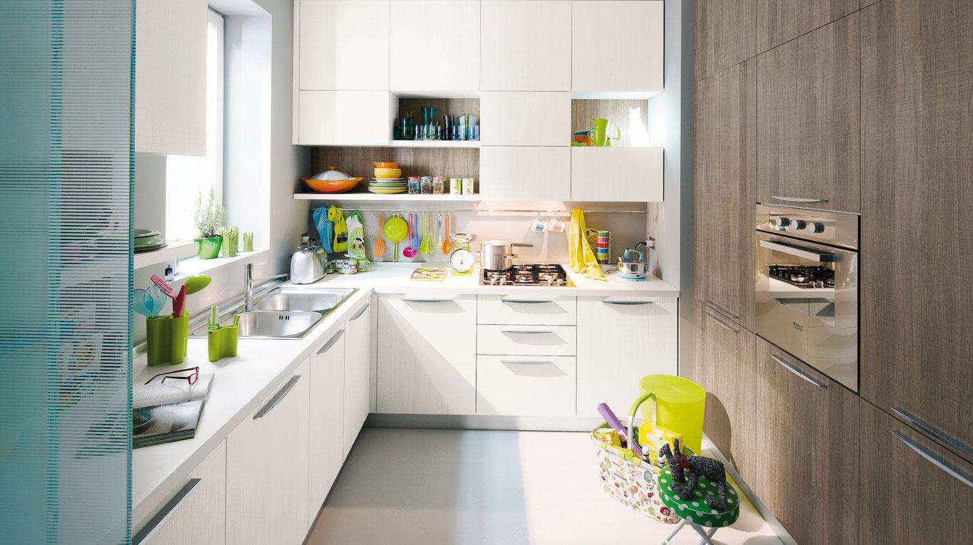 Kuchyňa vtvare Uposkytne maximálny priestor smnožstvom úložných možností. Vprípade menších kuchýň je potrebné, aby sa dodržala vzdialenosť medzi protiľahlými stenami minimálne 2 m.