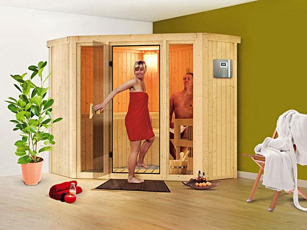 Saunu Flora 1 je možné umiestniť aj do rohu miestnosti. Z oboch strán presklené okná dverí pôsobia vzdušne a elegantne.