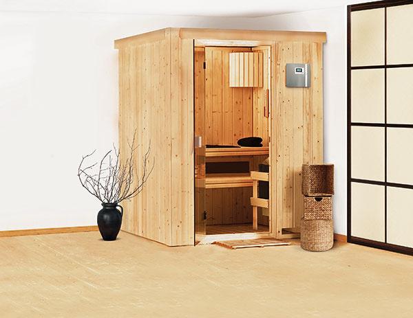 Fínska sauna Heikki sa vďaka malému pôdorysu ľahko vojde napríklad aj do menšieho bytu.