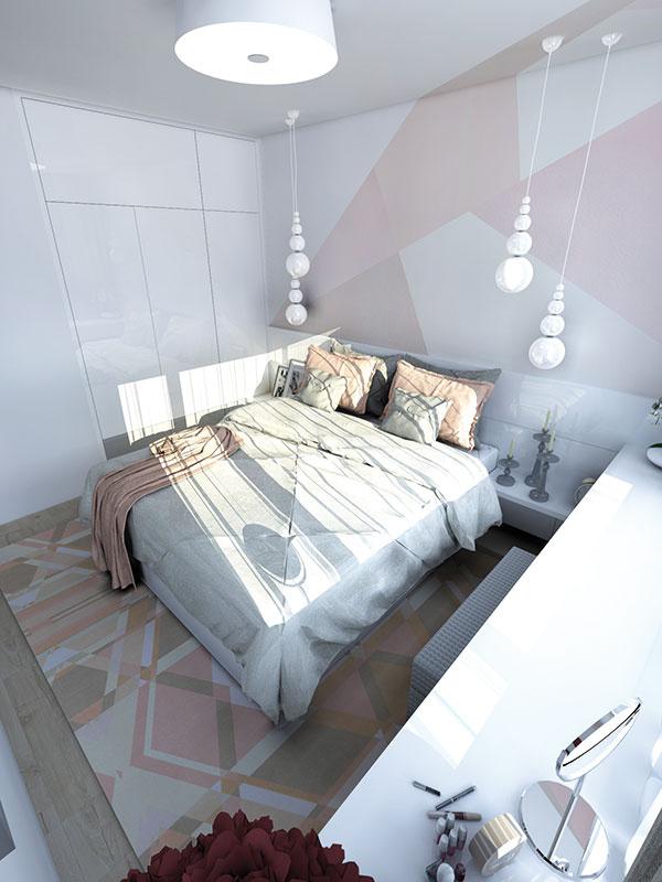 Atypická maľovka za čelom postele a v menšej miere aj na protiľahlej stene priestor dynamizuje. Vďaka použitým farebným odtieňom nepôsobí násilne.