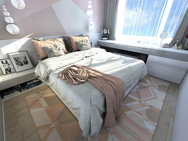 Útulná pastelová spálňa v novom byte podľa požiadaviek čerstvých majiteľov