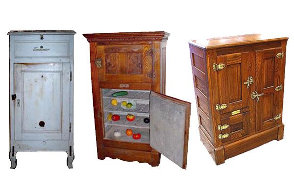Rôzne typy chladiacich boxov, predchodcov dnešných chladničiek