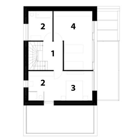 1. poschodie 1 chodba 2 kúpeľňa 3 spálňa 4 izba