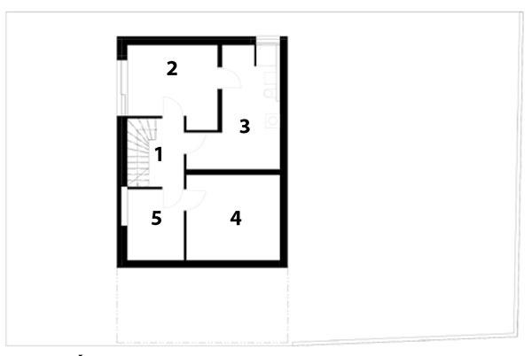 Suterén 1 chodba aschodisko 2 hosťovská izba 3 sklad 4 hobby miestnosť 5 technická miestnosť, kúpeľňa